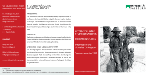 STUDIENERGÄNZUNG MIGRATION STUDIES