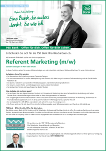 Referent Marketing (m/w) - VR