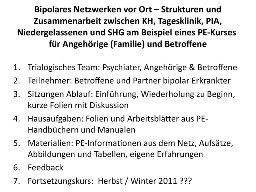 Bipolares Netzwerken vor Ort – Strukturen und