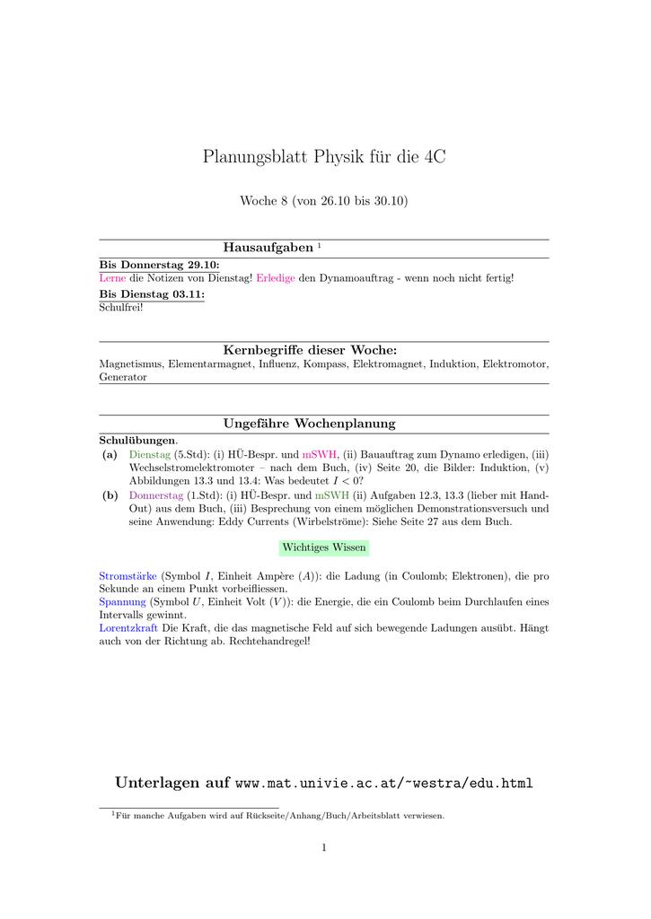 Planungsblatt Physik für die 4C