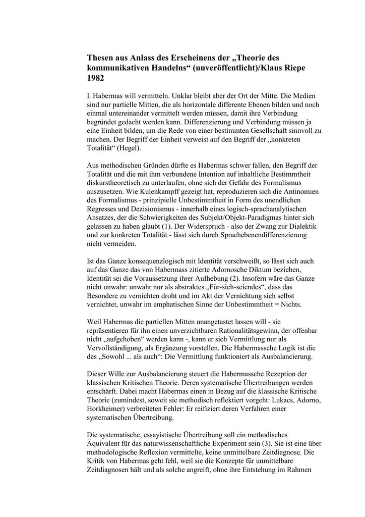 Thesen Habermas 1982 Theorie des kommunikativen Handelns