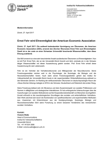 Ernst Fehr wird Ehrenmitglied der American Economic Association