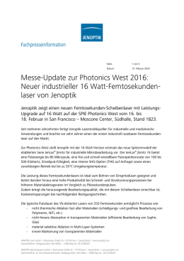 Messe-Update zur Photonics West 2016