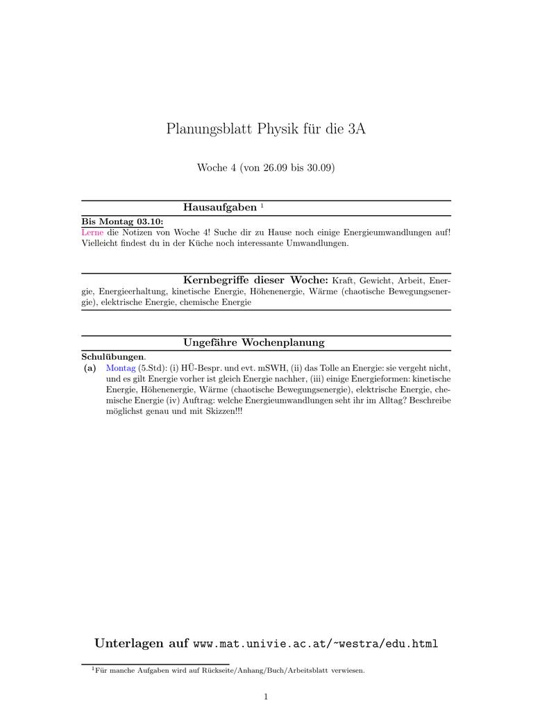 Planungsblatt Physik für die 3A
