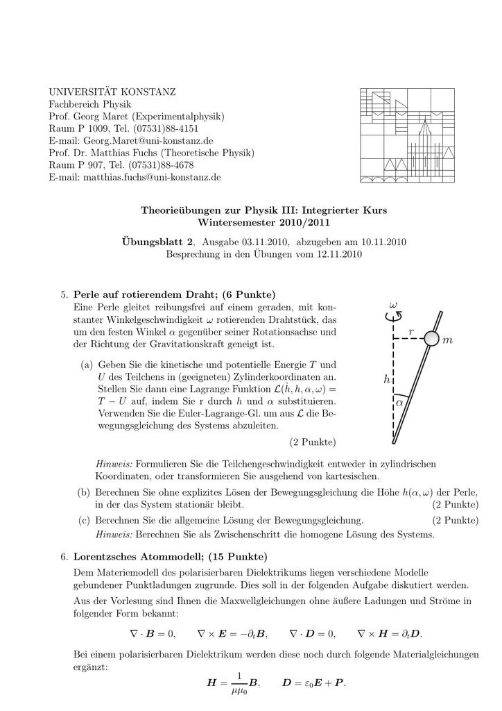 Blatt 2 - Theoretical Physics at University of Konstanz/Theoretische