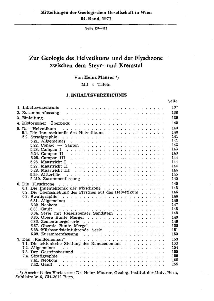 Zur Geologie des Helvetikums und der Flysdizone zwischen dem Steyr