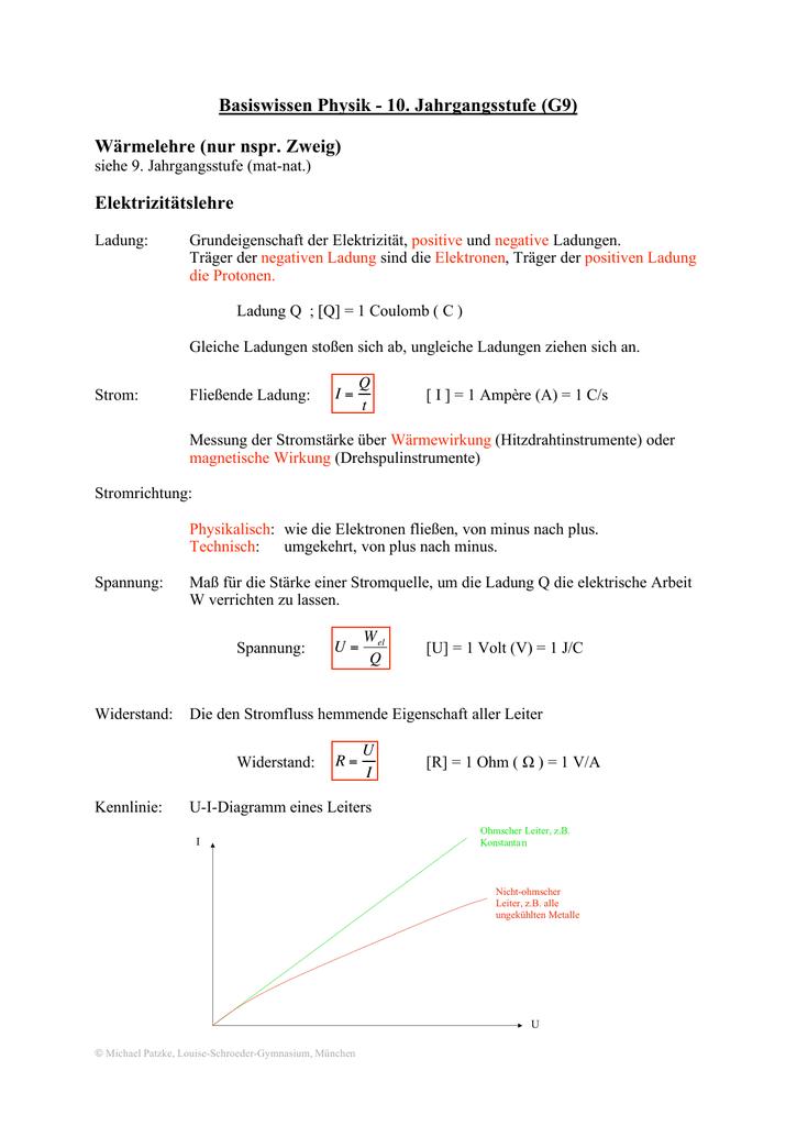 Basiswissen Physik - 10. Jahrgangsstufe (G9) Wärmelehre (nur nspr