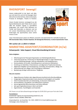 MARKETING ASSISTENT/COORDINATOR (m/w)