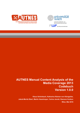 AUTNES Manual Content Analysis of the Media Coverage