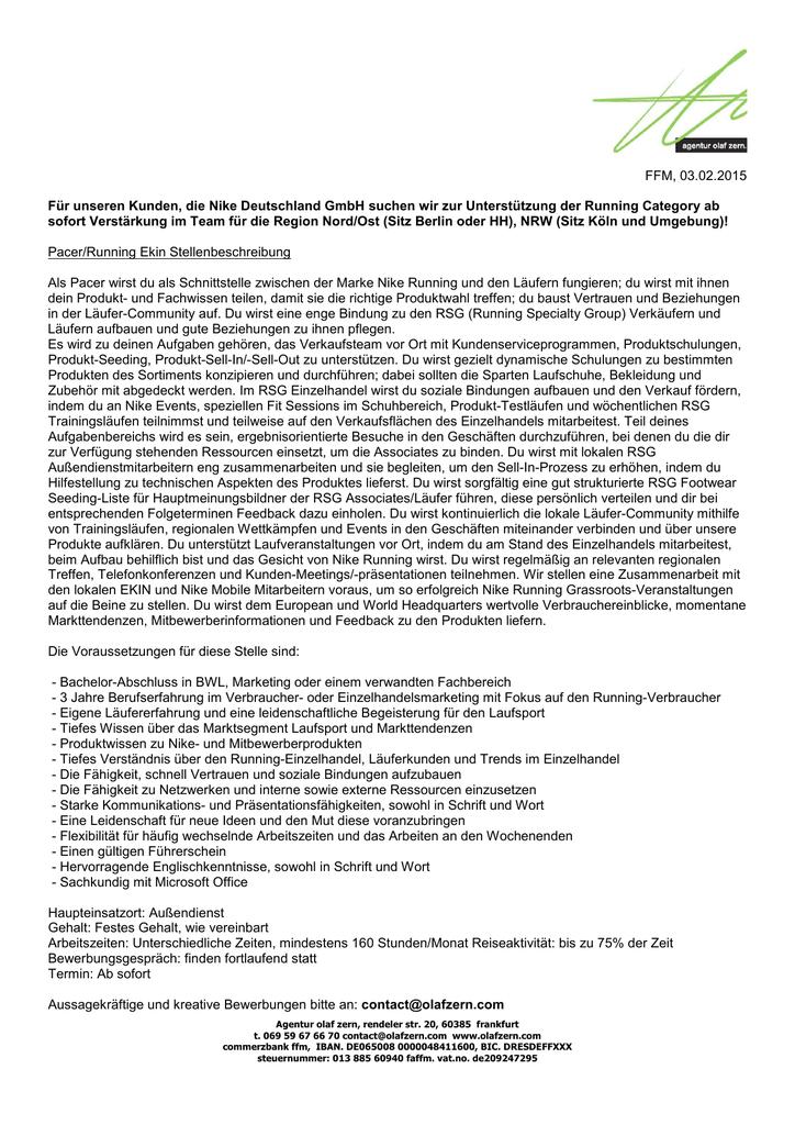 FFM, 03.02.2015 Für unseren Kunden, die Nike Deutschland GmbH