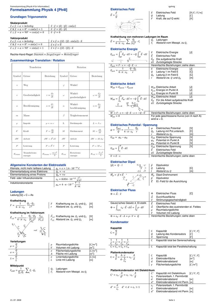 Formelsammlung Physik 4 [Ph4I]