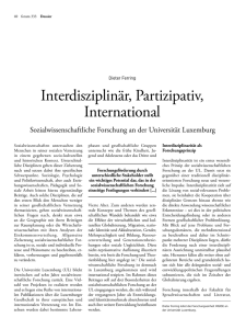 Interdisziplinär, Partizipativ, International