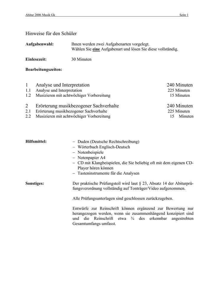 Hinweise Für Den Schüler 1 Analyse Und Interpretation 240 Minuten