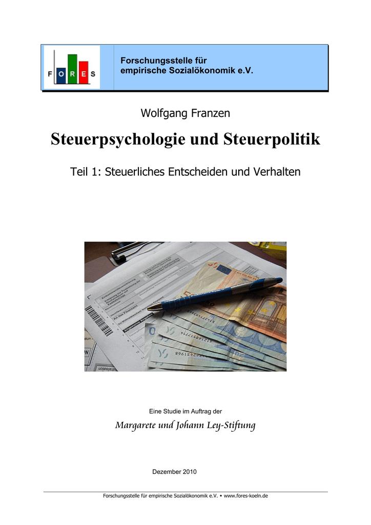 Steuerpsychologie und Steuerpolitik, Teil 1