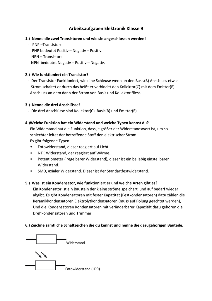Arbeitsaufgaben Elektronik Klasse 9 kurtz