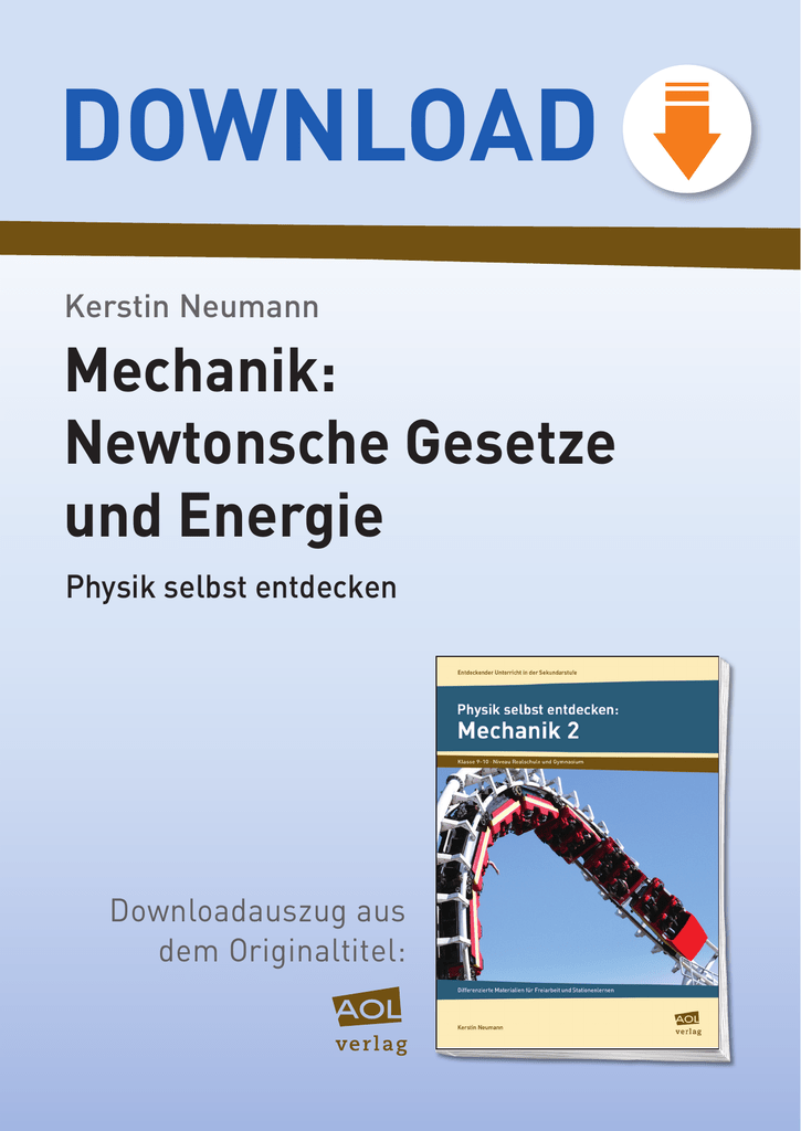 10218DA3 Mechanik: Newtonsche Gesetze und Energie