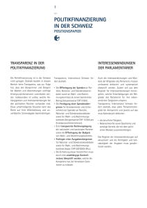 Positionspapier - Transparency International Schweiz