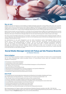 Social Media Manager (m/w) mit Fokus auf die Finance