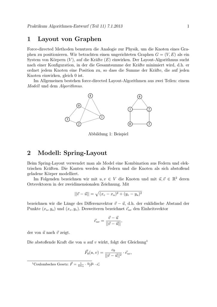 1 Layout von Graphen 2 Modell: Spring