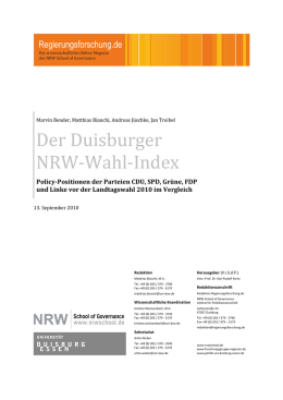 Der Duisburger NRW-Wahl-Index. Policy