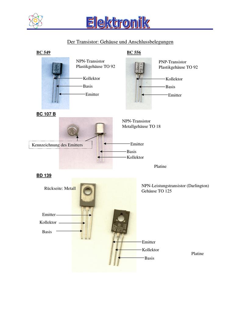 Der Transistor: Gehäuse und Anschlussbelegungen
