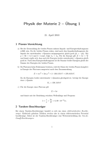 Physik der Materie 2 – Übung 1