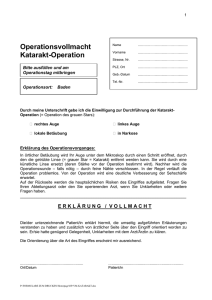 Operationsvollmacht Katarakt-Operation