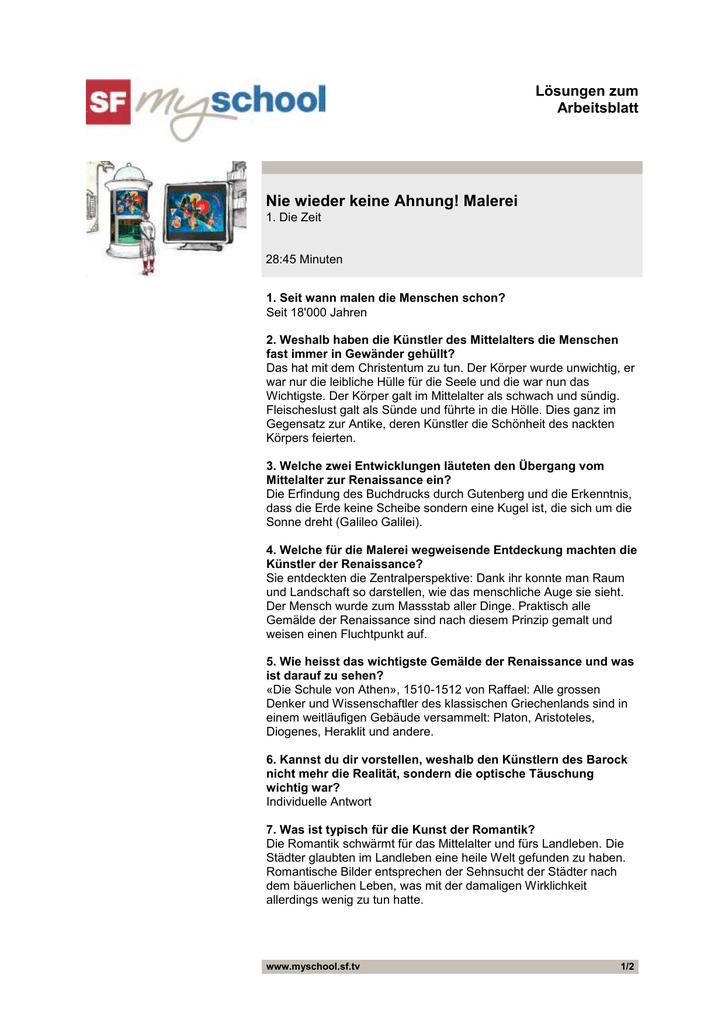 Lösungen Arbeitsblatt