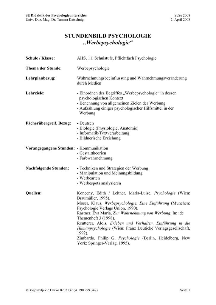 Medienpsychologie_Stundenbild Psychologie