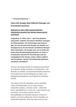Pressemitteilung - Editorial Manager