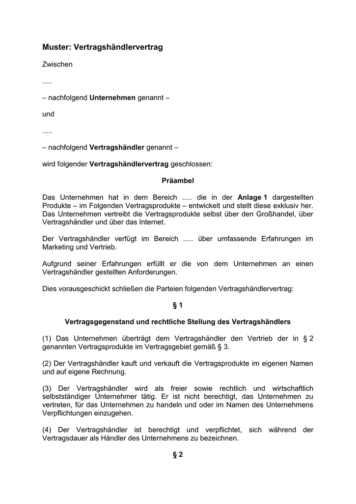 Muster Vertragshändlervertrag