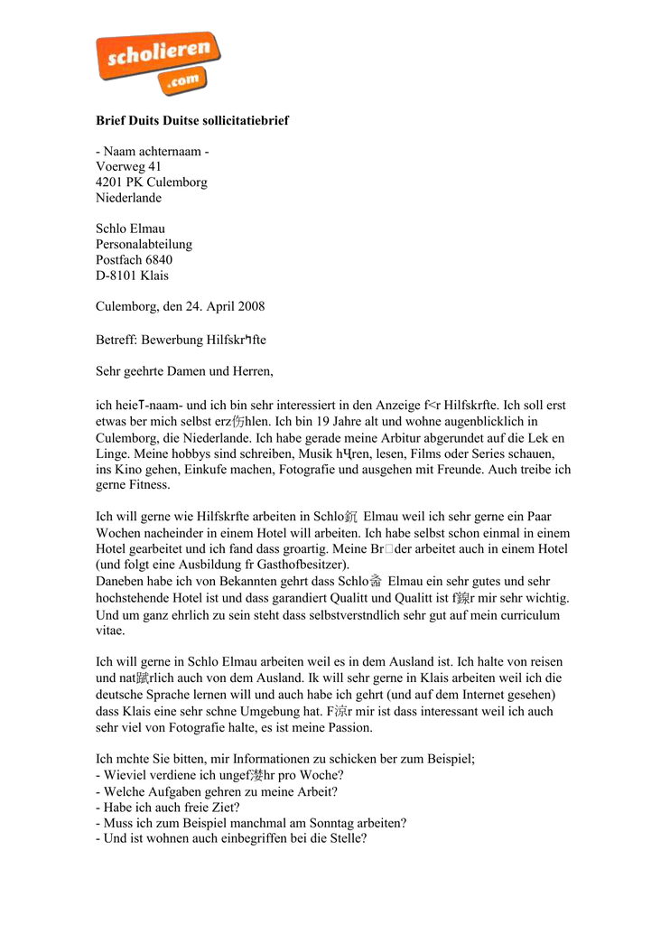 duitse sollicitatiebrief Brief Duits Duitse sollicitatiebrief   Naam achternaam
