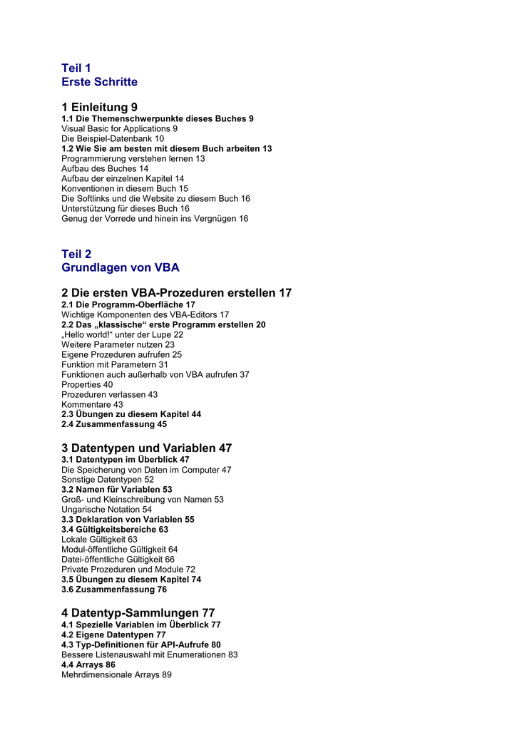 Teil 1 Erste Schritte 1 Einleitung 9 Teil 2 Grundlagen Von Vba 2 Die