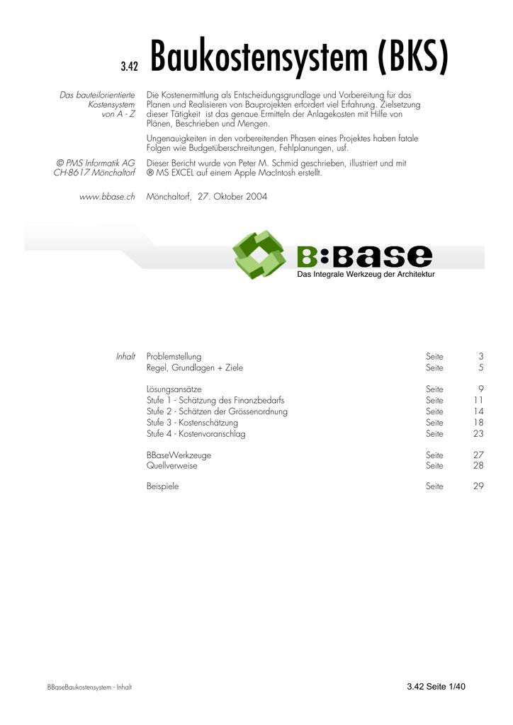342 Baukostensystem Bks