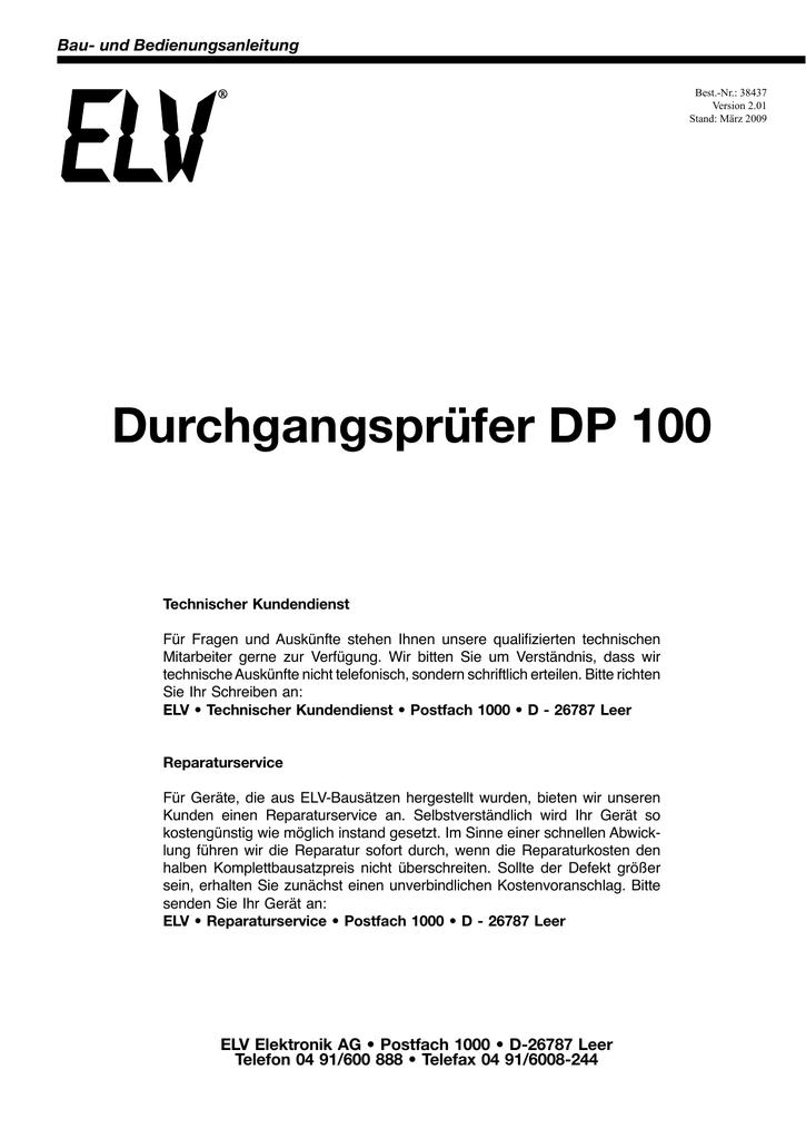 Durchgangsprüfer DP 100