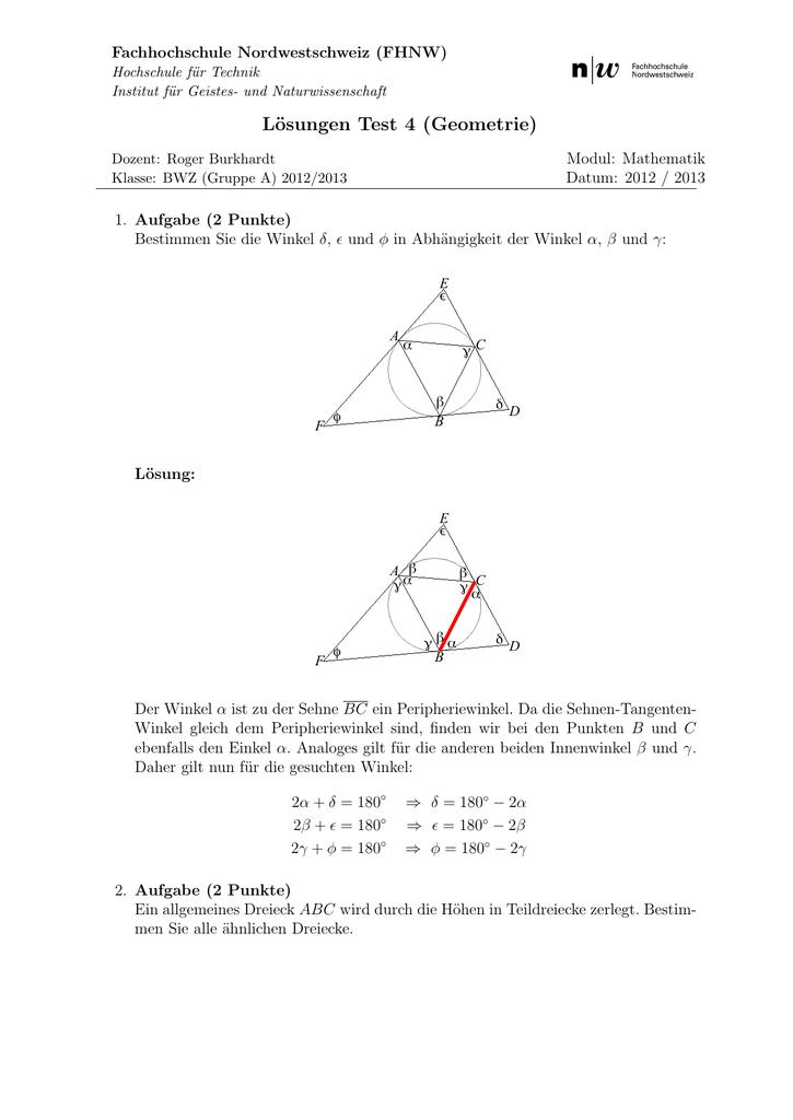 Lösungen Test 4 (Geometrie)