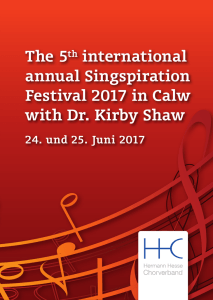 The 5th international annual Singspiration Festival 2017 in Calw