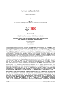 Summary and Securities Note - UBS