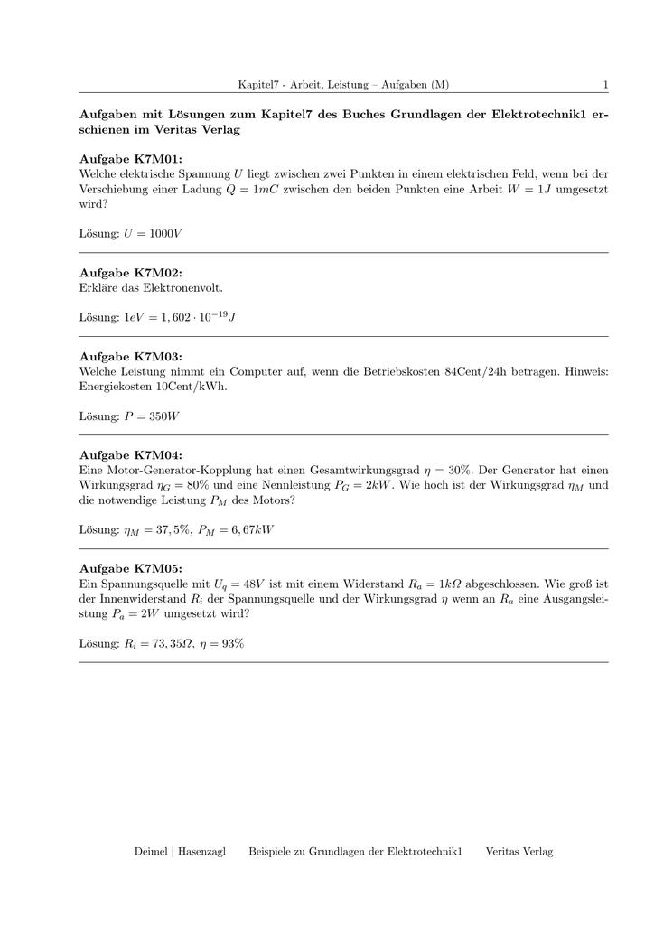 Aufgaben Mit Losungen Zum Kapitel7 Des