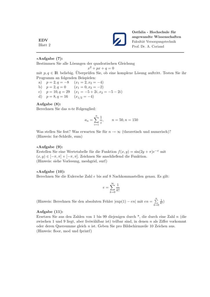 EDV Blatt 2 ⋆Aufgabe (7): Bestimmen Sie alle Lösungen der