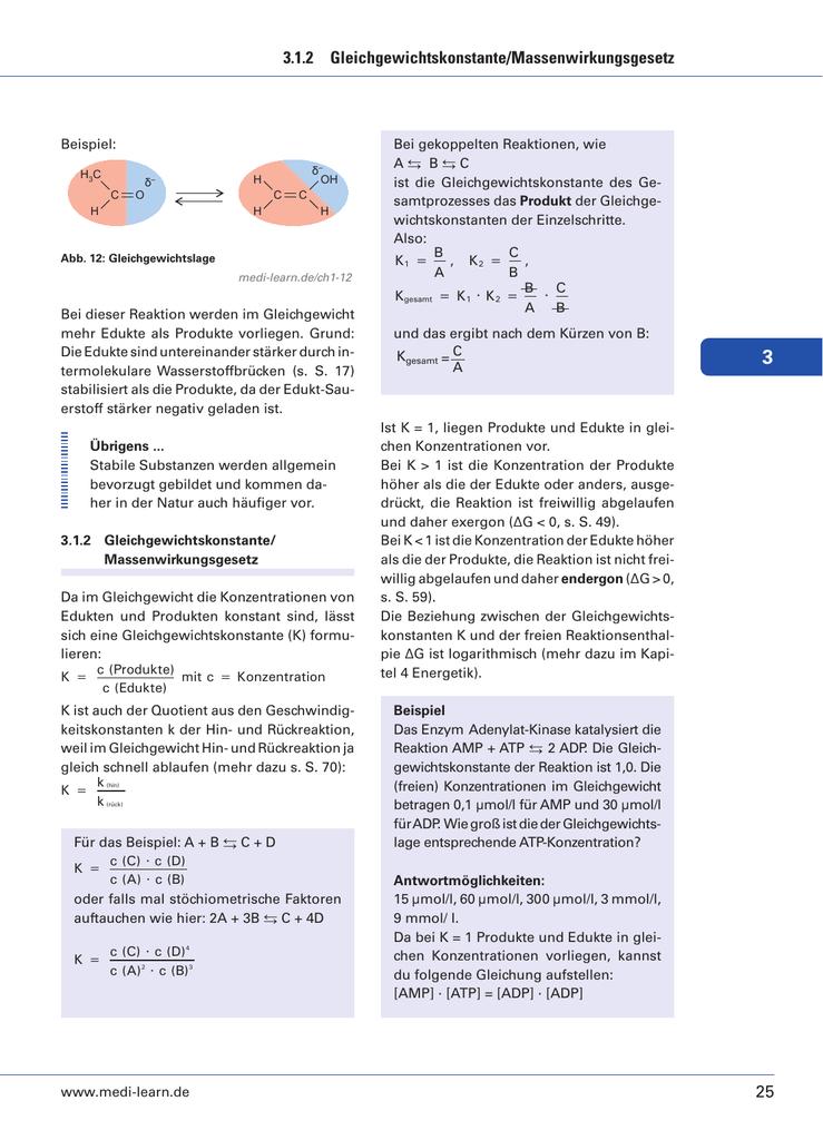 25 312 gleichgewichtskonstantemassenwirkungsgesetz - Massenwirkungsgesetz Beispiel