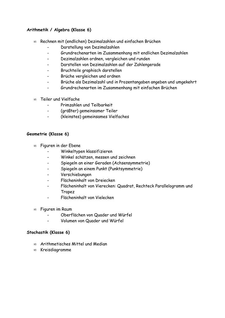 Arithmetik / Algebra (Klasse 6) • Rechnen mit (endlichen