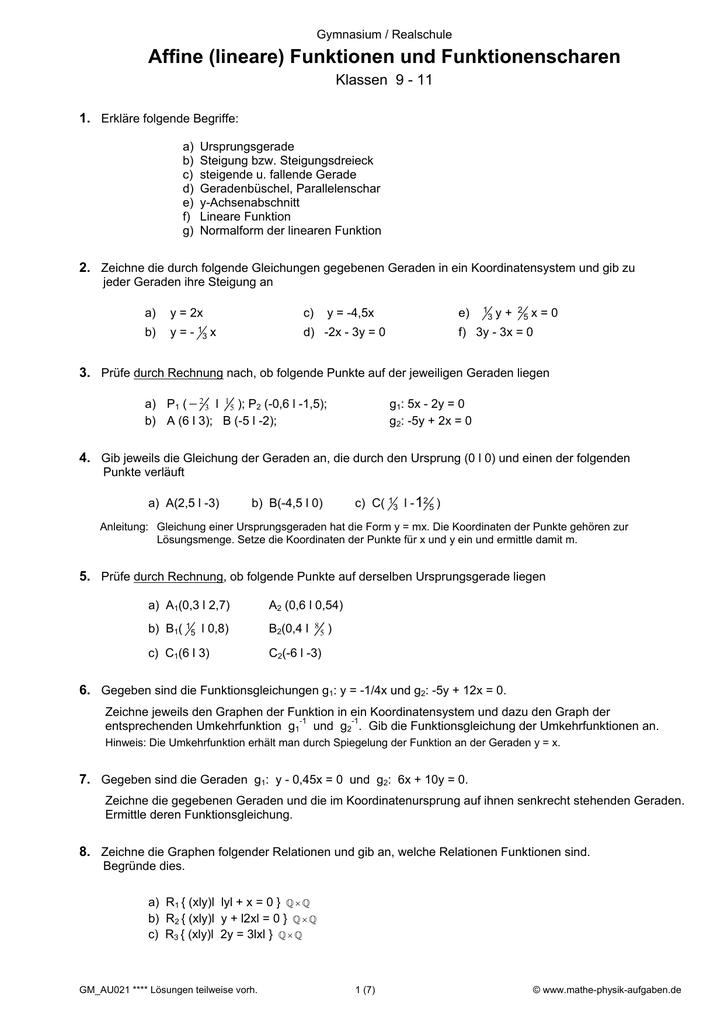 Affine (lineare) Funktionen und Funktionenscharen