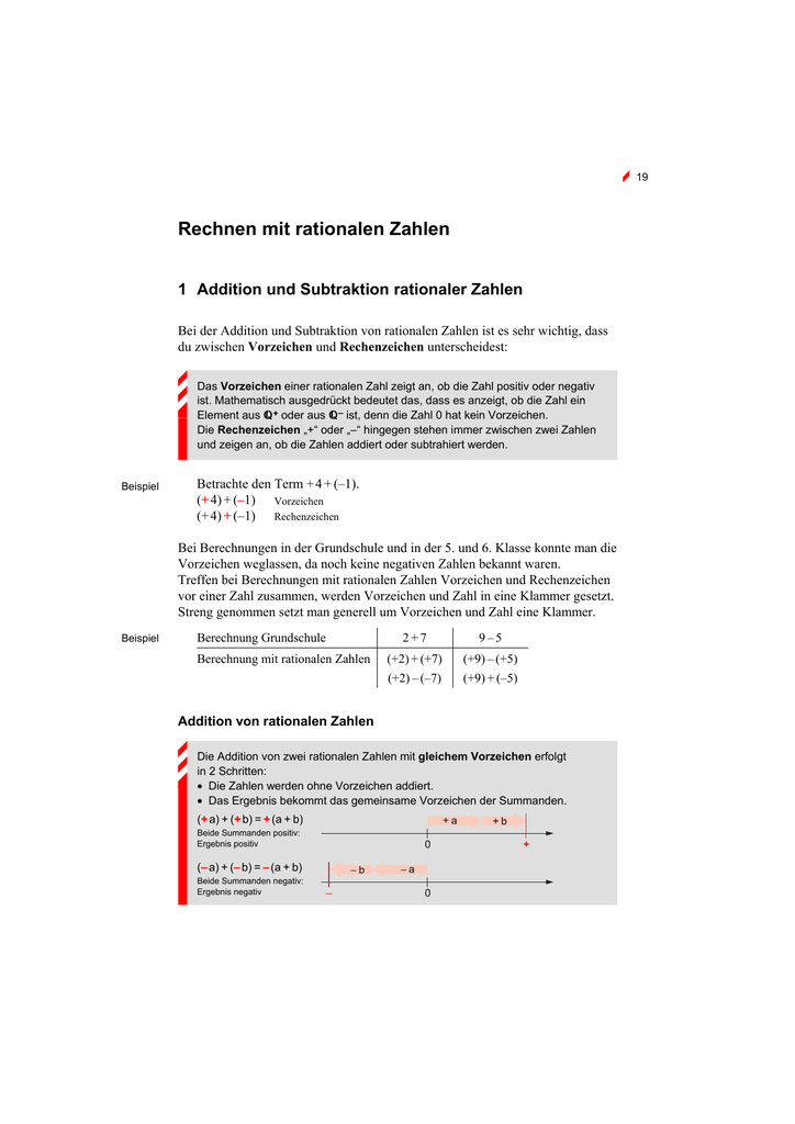Rechnen mit rationalen Zahlen