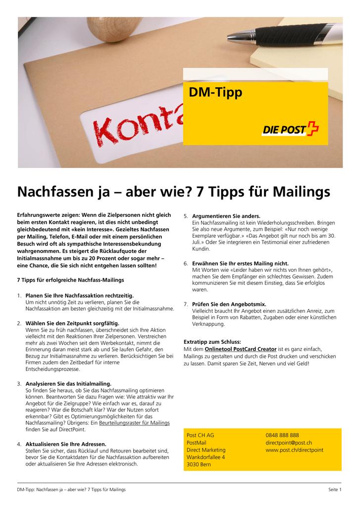 Nachfassen Ja Aber Wie 7 Tipps Für Mailings