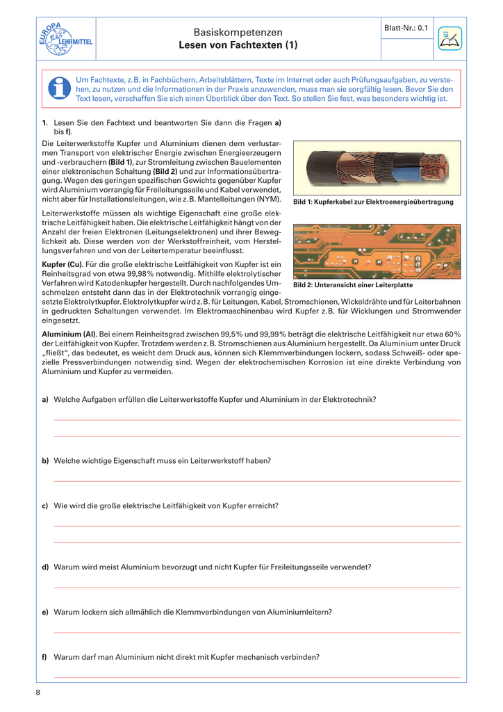 Arbeitsblätter Fachkunde Elektrotechnik (Leseprobe) - VDE