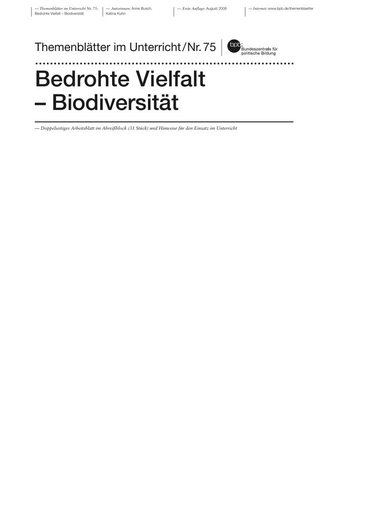 Themenblätter im Unterricht Nr. 75 - Bundeszentrale für politische