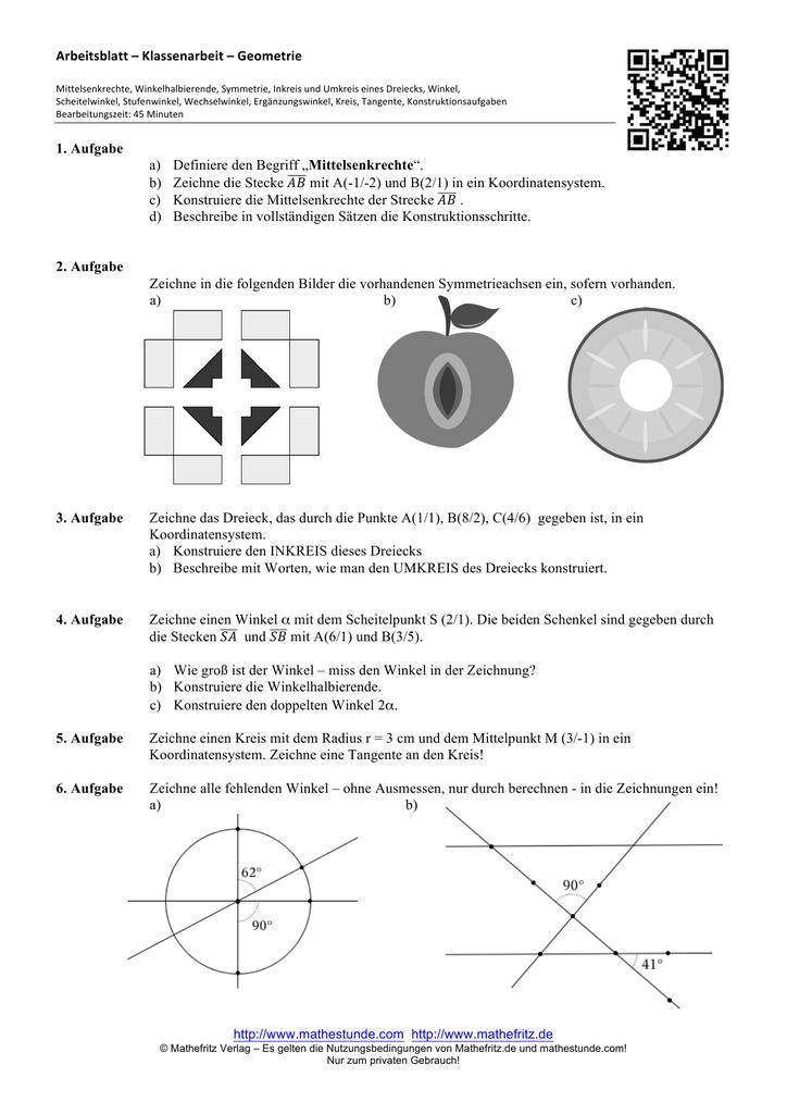 Arbeitsblatt Klassenarbeit Geometrie 1 Aufgabe A Definiere
