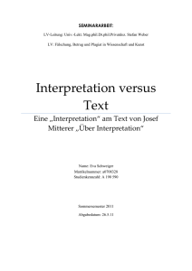 Interpretation versus Text