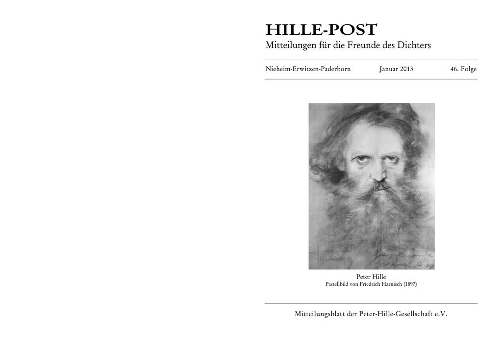 Hille Post 2013 Peter Hille Gesellschaft
